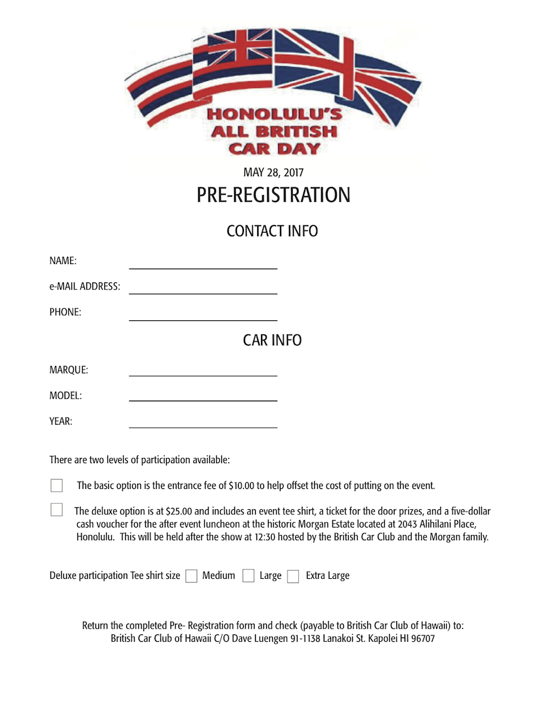 2017 All British Car Day registration form